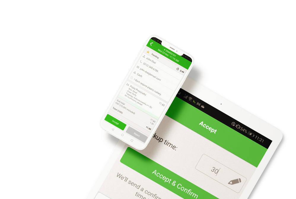 Accepting online orders from smartphone and tablet